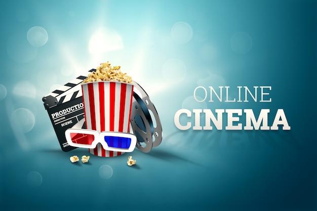 Cinema, attributi del cinema, cinema, film, visione online, popcorn e bicchieri.