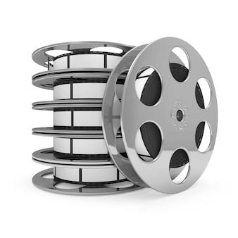 Rotoli di pellicola del cinema isolati su priorità bassa bianca