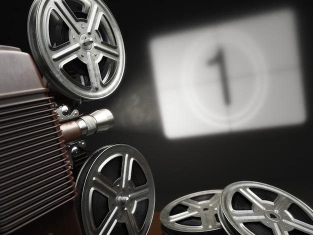 Concetto di cinema, film o video. proiettore vintage con proiezione in bianco e bobine di pellicola. 3d