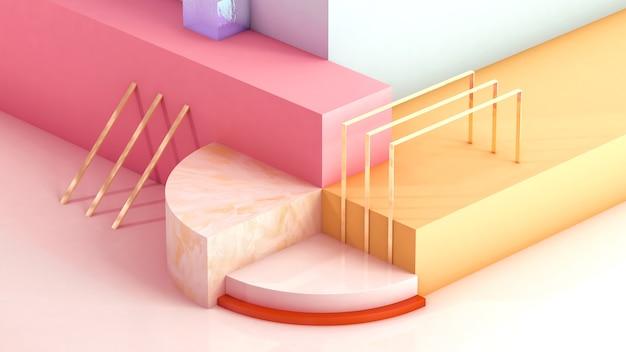 Rendering cinematografico di geometrie astratte per la visualizzazione di mockup