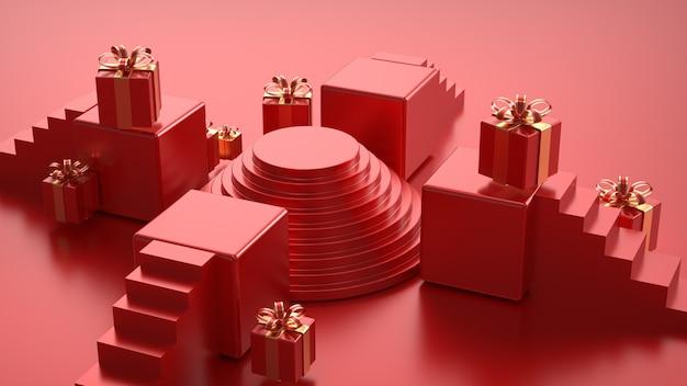Rendering cinematografico di rosso con confezione regalo per mockup di visualizzazione