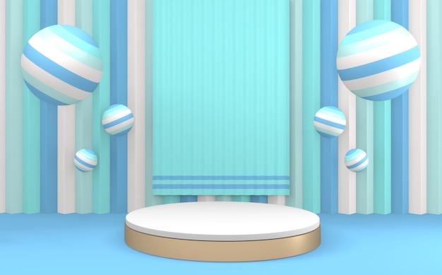 Cerchio su sfondo blu e podio blu ciano design minimale rendering 3d
