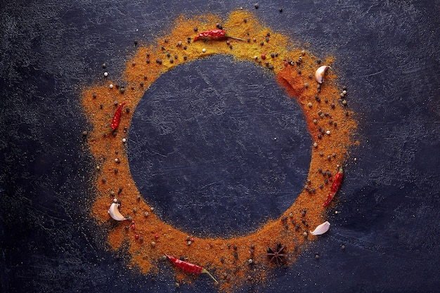 Cerchio composizione cornice di spezie ed erbe aromatiche su sfondo scuro con spazio di copia.