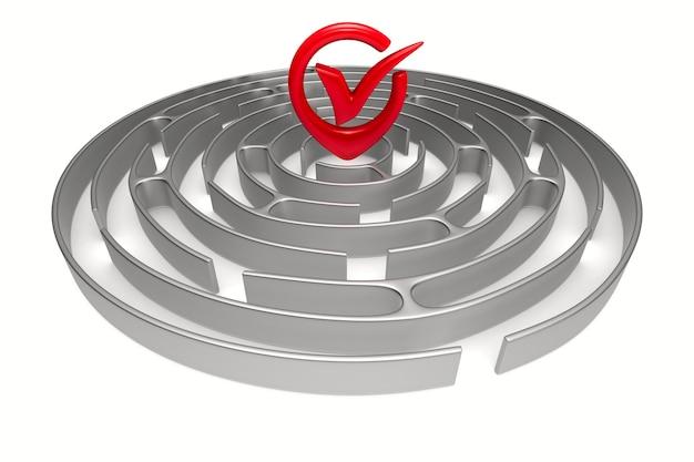 Labirinto del cerchio su priorità bassa bianca. illustrazione 3d isolata