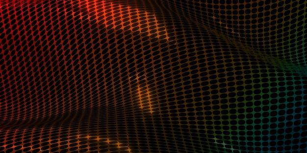 Fondo di tecnologia della maglia del cerchio superficie lucida riflettente illustrazione 3d dell'onda digitale