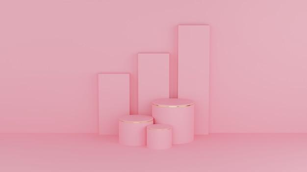 Colore pastello podio cerchio rosa e bordo oro per prodotto