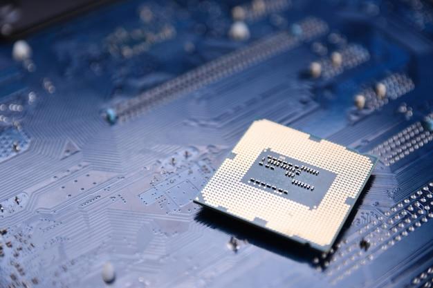 Scheda di circuito. sfondo tecnologico. concetto di cpu dei processori del computer centrale.un chip digitale della scheda madre.ai.close up