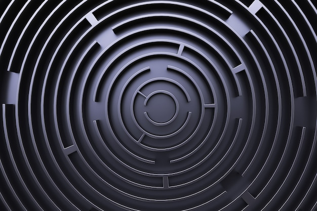 Labirinto circolare. vista dall'alto. stile nero.