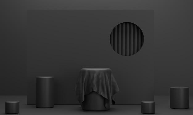 Podio circolare con velo nei toni del nero per esporre prodotti aziendali in un'atmosfera cupa
