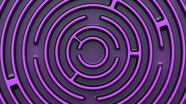 Struttura circolare labirinto viola. vista dall'alto.