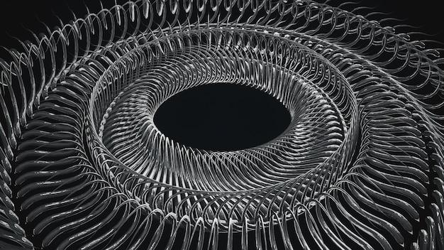 Illustrazione ripetuta circolare del modello 3d dei pezzi di metallo