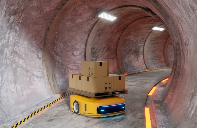 Tunnel della metropolitana circolare con macchina automatica che lavora per trasferire il prodotto, rendering dell'illustrazione 3d