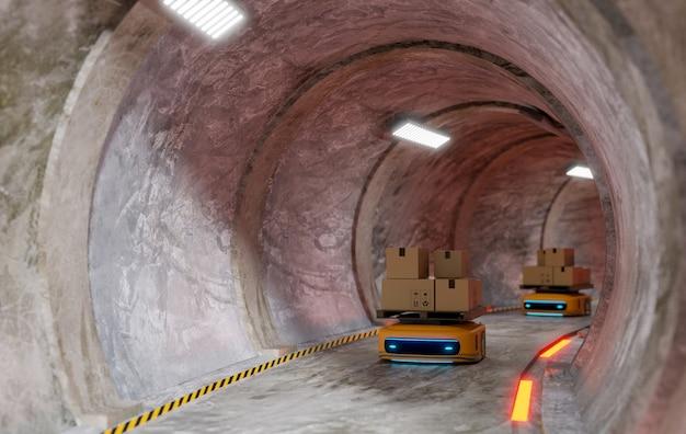 Tunnel della metropolitana circolare con macchina automatica che lavora per trasferire il prodotto, rendering 3d