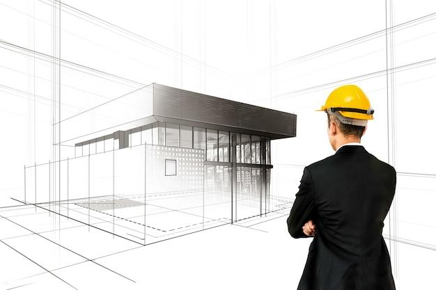 Pianificazione civile della città e sviluppo immobiliare - architetto persone che guardano schizzi astratti della città per progettare un futuro edificio creativo della città. sogno di architettura e concetto di ambizione.