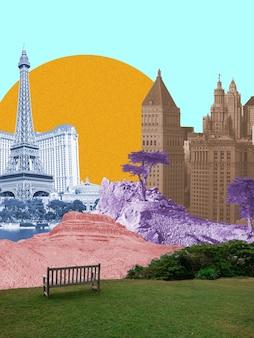 Città e montagne con un enorme sole su sfondo blu. spazio negativo per inserire il testo. design moderno. collage di arte contemporanea colorato e concettuale luminoso per la pubblicità. zine, stile retrowave.