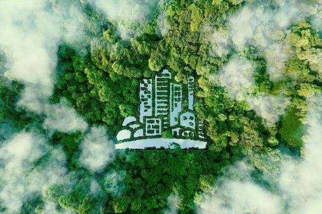 Un lago a forma di città nel mezzo di una foresta lussureggiante come metafora dell'urbanistica eco-compatibile e del verde moderno in generale. rappresentazione 3d.