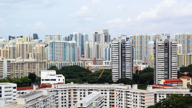 Paesaggio urbano di molti moderni grattacieli alti condomini, appartamenti, con case in primo piano. edifici, singapore, zona della città.