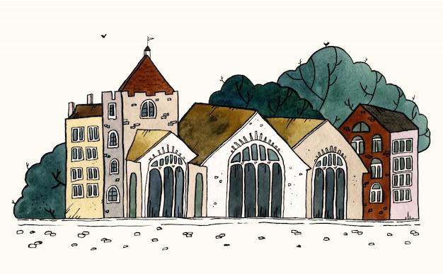 Illustrazione disegnata a mano dell'acquerello della vecchia città di paesaggio urbano. paesaggio della città vecchia con torre, case, alberi. schizzo di inchiostro grunge