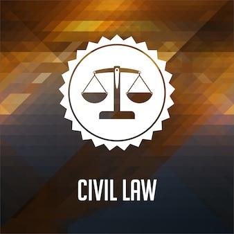 Concetto di diritto civile. design dell'etichetta retrò. hipster fatto di triangoli, effetto flusso di colore.