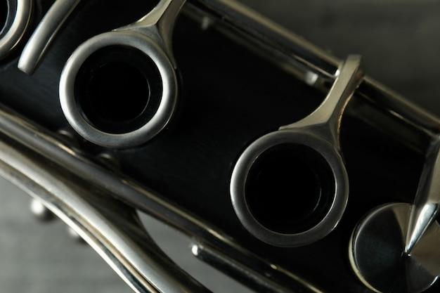 Strumento musicale per clarinetto, primo piano e messa a fuoco selettiva
