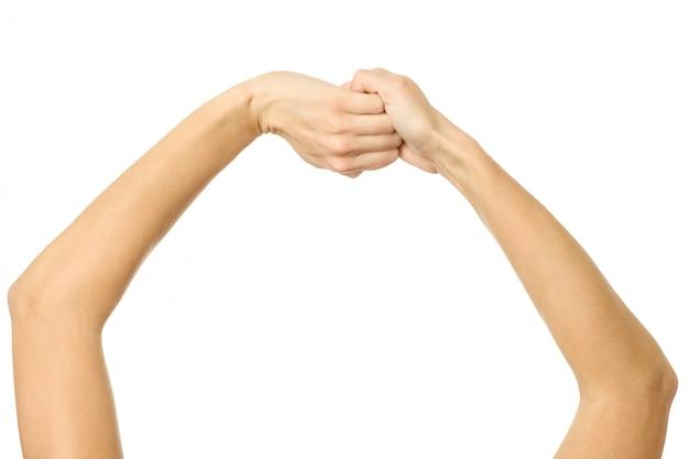 Mani giunte. gesturing della mano della donna isolato su bianco