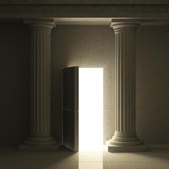 Interno antico classico con colonne e porta segreta aperta