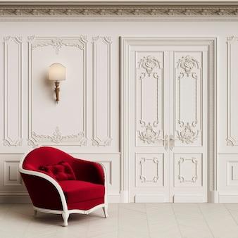 Poltrona classica in interni classici con spazio di copia