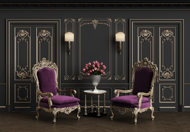 Poltrone classiche in interni classici con spazio di copia