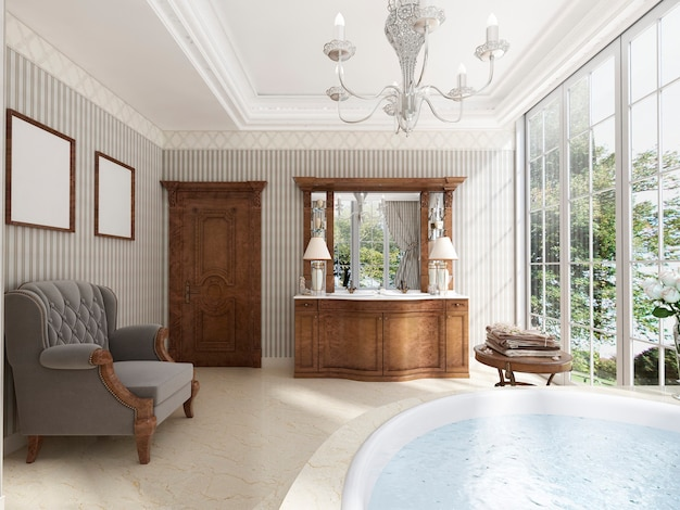 Bagno classico con mobili da bagno di lusso e una poltrona lounge. rendering 3d.