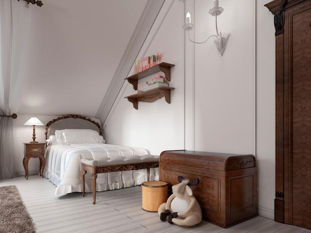Letto classico in cameretta con comodino, lampada e cassettiera portagiochi. rendering 3d.
