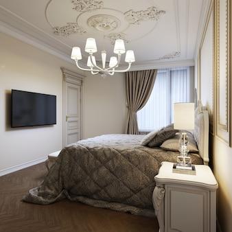 Letto classico con comodini e lampade da notte in stile camera da letto art deco. rendering 3d.