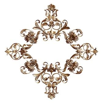 Cornice dorata classica con decorazioni di ornamento isolato rendering 3d