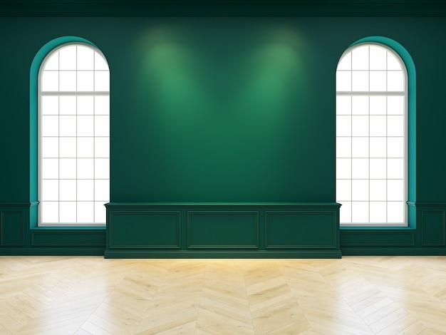 Interno vuoto verde classico con pareti, finestre e pavimento in legno. 3d render illustrazione.