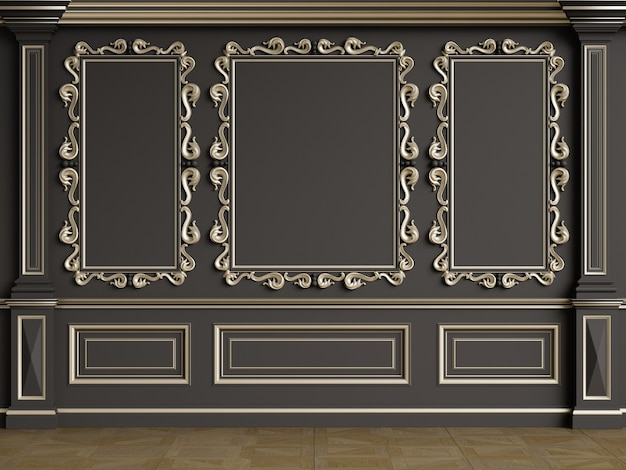 Parete interna classica con modanature.pavimento in parquet a spina di pesce.rendering digitale illustration.3d