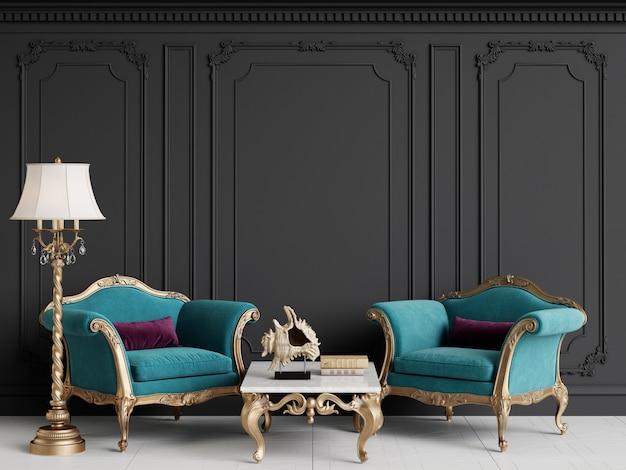 Interni classici con poltrone blu e lampada da terra Foto Premium