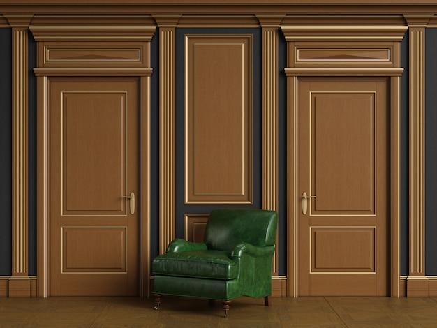 Interni classici con boiserie in legno con spazio di copia
