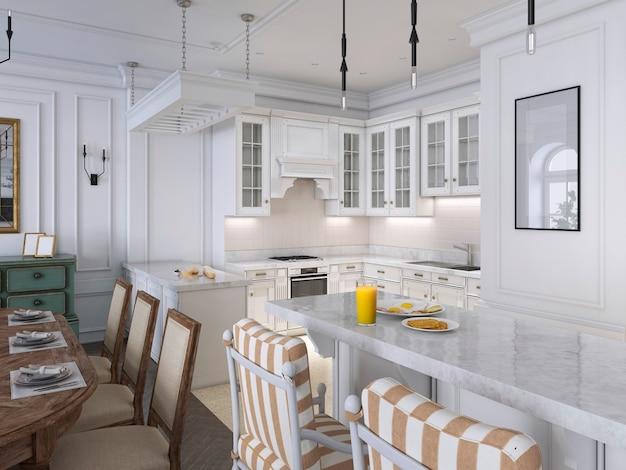 Cucina classica con dettagli in legno e bianco, interior design. rendering 3d