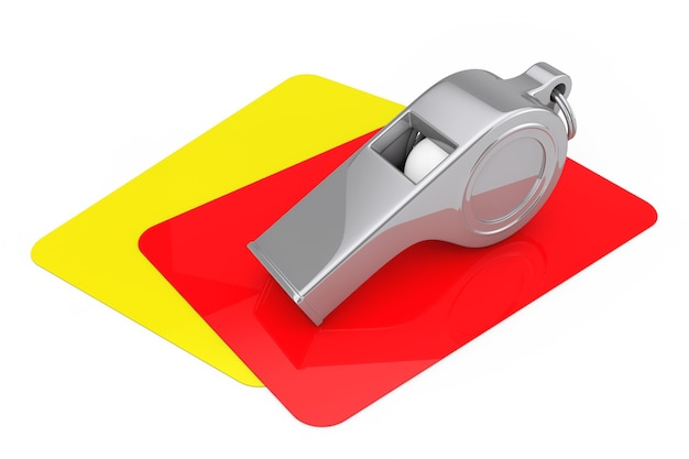 Classici allenatori di metallo fischiano su cartellini rossi e gialli su sfondo bianco. rendering 3d