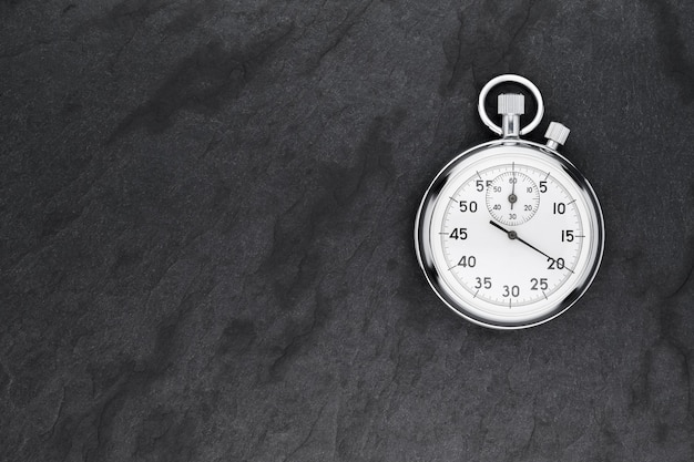 Classico cronometro analogico meccanico cromato metallico nero ardesia.