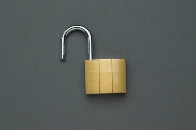 Chiusura classica aperta. il concetto di protezione e sicurezza. lay piatto.