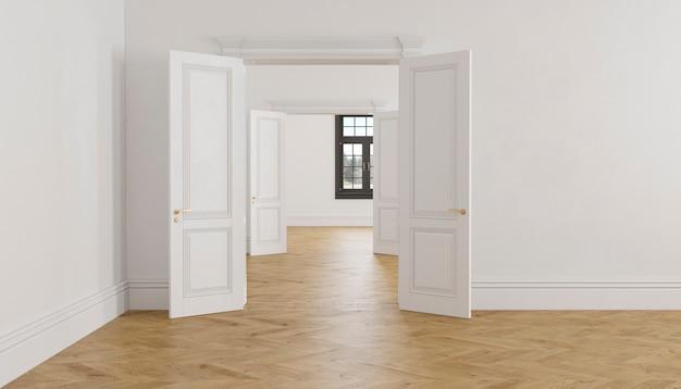 Interno vuoto bianco scandinavo classico con porte aperte, parquet e finestre. 3d render illustrazione.
