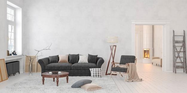 Interni bianchi scandinavi classici con tavolo divano camino 3d rendering mockup