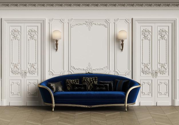 Divano classico in interni classici con spazio di copia