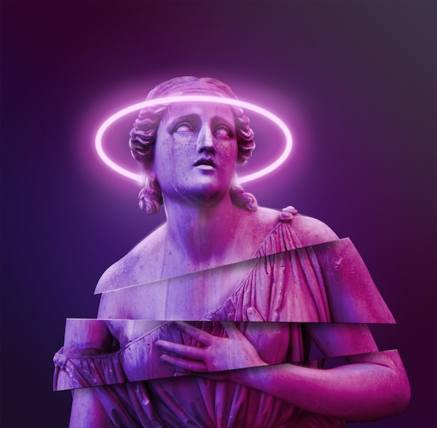 Concetto di sfondo della statua classica sfondo in stile vaporwave scultura classica con distorsione