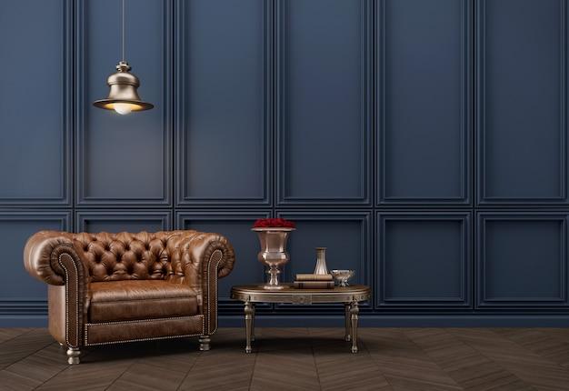 Poltrona in stile classico con lampada e parete blu