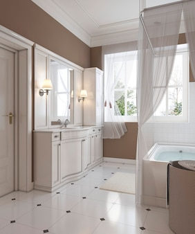 Decorazione del bagno in stile classico, vanità, vasca da bagno. rappresentazione 3d.