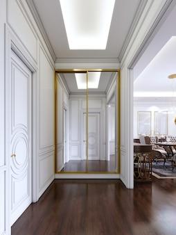 Ingresso in stile classico con pareti bianche e armadio a muro scorrevole con cornice dorata. rendering 3d