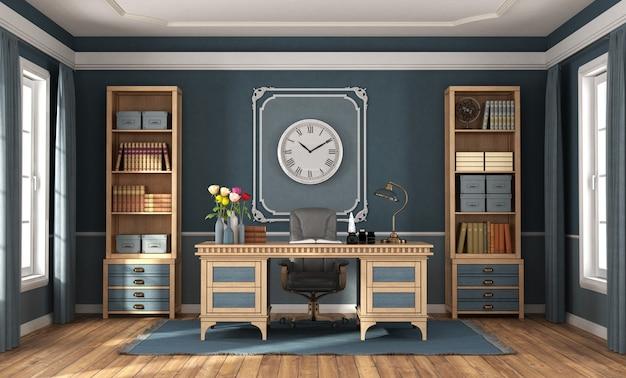 Home office in stile classico con pareti blu, scrivania in legno e librerie - rendering 3d