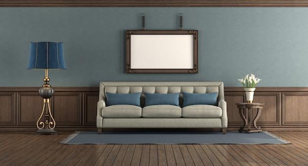 Salotto in stile classico con divano elegante e boiserie in legno