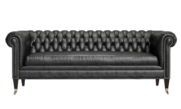 Sofà di cuoio nero trapuntato annata classica isolato su fondo bianco